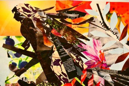 collage förställande en påskkärring på sin kvast