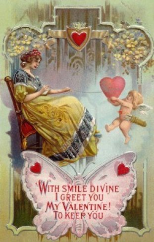 14916592-a-vintage-valentines-day-card-with-a-woman-pulling-in-a-heart-with-string-around-it-and-cupid-holdin